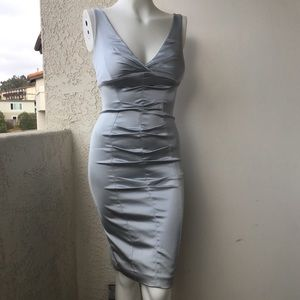 Caché Bodycon Form fitting Silver Dress Size 2 B2
